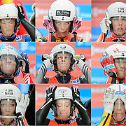 2013 Viessmann women's Luge World Cup, in Whistler, Canada.  Athletes adjust their visors in the start gate prior to their first run:  Top row: Viera Gburova (SVK), Miriam Kastlunger (AUT), Alex Gough (CAN) Middle: Natalia Khoreva (RUS), Martina Kocher (SUI), Mona Wabnigg (AUT) Bottom: Arianne Jones (CAN), Sandra Gasparini (ITA), Erin Hamlin (USA)