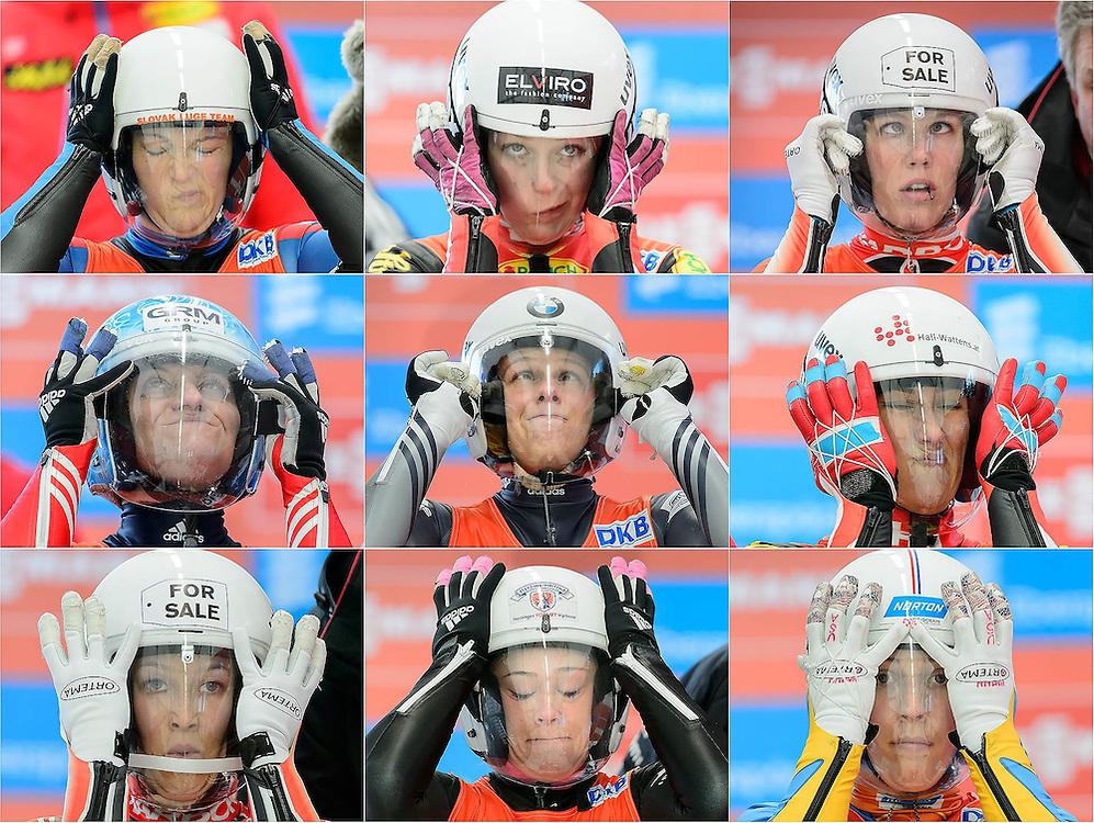 2013 Viessmann women's Luge World Cup, in Whistler, Canada.  Athletes adjust their visors in the start gate prior to their first run:  Top row: Viera Gburova (SVK), Miriam Kastlunger (AUT), Alex Gough (CAN) Middle: Natalia Khoreva (RUS), Martina Kocher (SUI), Mona Wabnigg (AUT) Bottom: Arianne Jones (CAN), Sandra Gasparini (ITA), Erin Hamlin (USA)