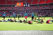 Forest Green Rovers players celebrate there victory during the Vanarama National League Play Off Final match between Tranmere Rovers and Forest Green Rovers at Wembley Stadium, London, England on 14 May 2017. Photo by Shane Healey.