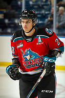 KELOWNA, BC - NOVEMBER 1: Leif Mattson #28 of the Kelowna Rockets warms up on the ice against the Prince George Cougars  at Prospera Place on November 1, 2019 in Kelowna, Canada. (Photo by Marissa Baecker/Shoot the Breeze)