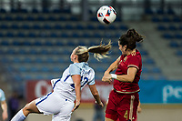 England's Tom Duggan and Spain's Andrea Pereira during the frendly match between woman teams of  Spain and England at Fernando Escartin Stadium in Guadalajara, Spain. October 25, 2016. (ALTERPHOTOS/Rodrigo Jimenez)