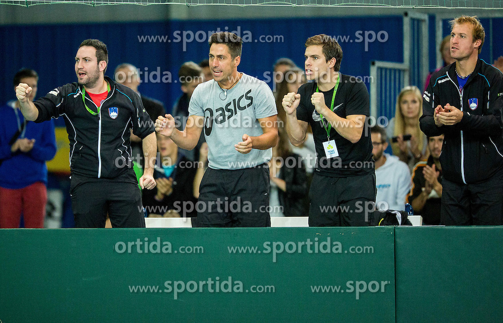 Team Slovenia during Davis Cup Slovenia vs Lithuania competition, on October 30, 2015 in Kranj, Slovenia. Photo by Vid Ponikvar / Sportida