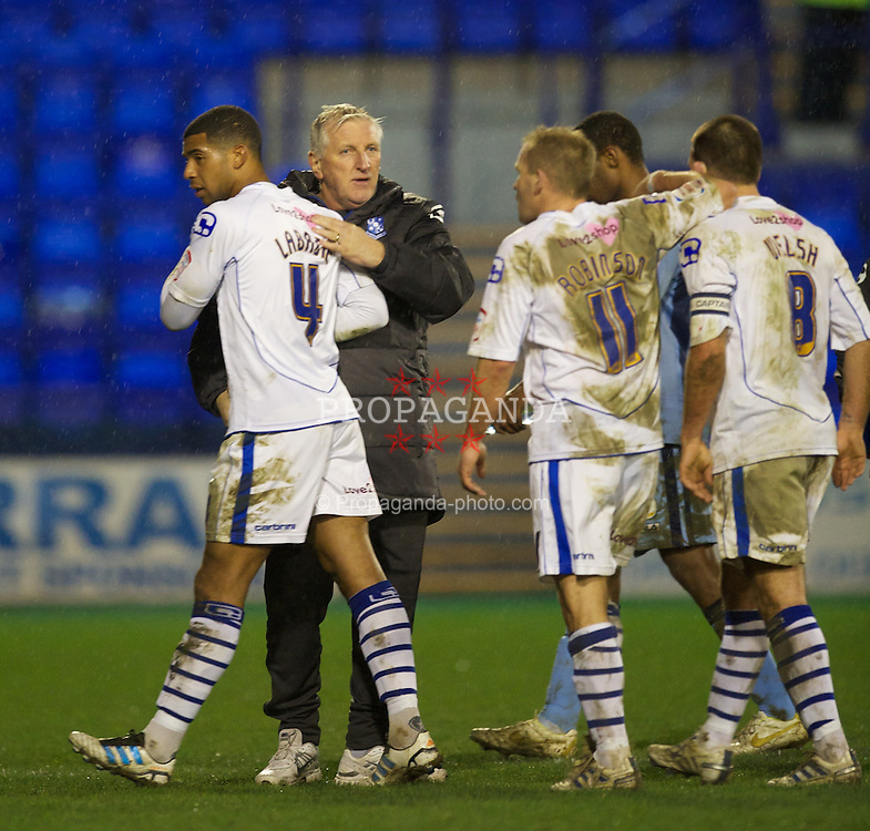 BIRKENHEAD, ENGLAND - Tuesday, March 6, 2012: Tranmere Rovers' new manager Ronnie Moore with Joss Labadie after the 1-1 draw with Notts County the Football League One match at Prenton Park. (Pic by David Rawcliffe/Propaganda)