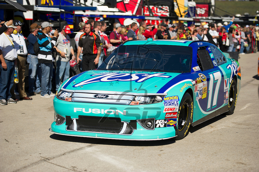 Kansas City, KS - OCT 20, 2012:  The NASCAR Sprint Cup Series teams take to the track during the final practice for the Hollywood Casino 400 at Kansas Speedway in Kansas City, KS.