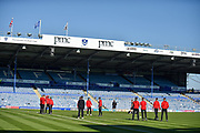 Fleetwood Town Manager, Joey Barton and the Fleetwood players check the pitch before kick off  during the EFL Sky Bet League 1 match between Portsmouth and Fleetwood Town at Fratton Park, Portsmouth, England on 20 October 2018.