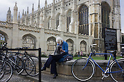 "Visitor and parked bikes belonging to students of King's College Cambridge. King's College is a constituent college of the University of Cambridge, England. The college's full name is ""The King's College of our Lady and Saint Nicholas in Cambridge"", but it is usually referred to simply as ""King's"" within the University. The college was founded in 1441 by King Henry VI, soon after its sister college in Eton. However, the King's plans for the college were disrupted by the civil war and resultant scarcity of funds, and his eventual deposition. Little progress was made on the project until in 1508 King Henry VII began to take an interest in the college, most likely as a political move to legitimise his new position. The building of the college's chapel, begun in 1446, was finally finished in 1544 during the reign of King Henry VIII. King's College Chapel is regarded as one of the greatest examples of late Gothic English architecture. It has the world's largest fan-vault, and the chapel's stained-glass windows and wooden chancel screen are considered some of the finest from their era. The building is seen as emblematic of Cambridge. The chapel's choir, composed of male students at King's and choristers from the nearby King's College School, is one of the most accomplished and renowned in the world. Every year on Christmas Eve the Festival of Nine Lessons and Carols (a service created by a Dean of King's especially for the college) is broadcast from the chapel to millions of listeners worldwide."
