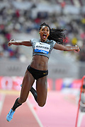 Caterine Ibarguen (COL) wins the women's long jump at 22-2 1/4 (6.76m)  during the IAAF Doha Diamond League 2019 at Khalifa International Stadium, Friday, May 3, 2019, in Doha, Qatar