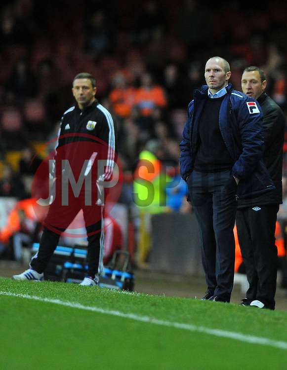 Blackpool Manger, Michael Appleton (right) and Bristol City Manager, Derek McInnes (left) - Photo mandatory by-line: Joe Meredith/JMP  - Tel: Mobile:07966 386802 17/11/2012 - Bristol City v Blackpool - SPORT - FOOTBALL - Championship -  Bristol  - Ashton Gate Stadium -