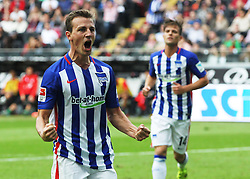 27.09.2015, Commerzbank Arena, Frankfurt, GER, 1. FBL, Eintracht Frankfurt vs Hertha BSC, 7. Runde, im Bild v.l. Tor zum 1:1 Vladimir Darida (Hertha BSC Berlin) Torjubel // during the German Bundesliga 7th round match between Eintracht Frankfurt vs Hertha BSC at the Commerzbank Arena in Frankfurt, Germany on 2015/09/27. EXPA Pictures © 2015, PhotoCredit: EXPA/ Eibner-Pressefoto/ Voelker<br /> <br /> *****ATTENTION - OUT of GER*****