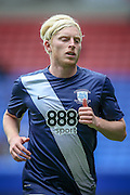 Ben Pringle (Preston North End) goes to take a corner during the second half of the Pre-Season Friendly match between Bolton Wanderers and Preston North End at the Macron Stadium, Bolton, England on 30 July 2016. Photo by Mark P Doherty.