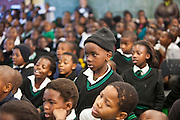 A young boy from Ithute primary school, in the Alexandra township, of Johannesburg takes part in the discussion after the About Us - Stepping Up' show performed by AREPP theatre for life.