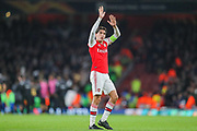 Arsenal defender Héctor Bellerín (2) acknowledges the home fans after the Europa League match between Arsenal and Vitoria SC at the Emirates Stadium, London, England on 24 October 2019.