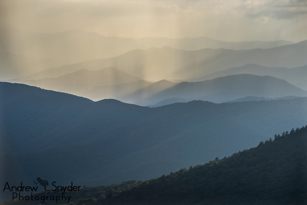 Light rays from the setting sun hit the rolling mountains - Great Smoky Mountains, Tennessee