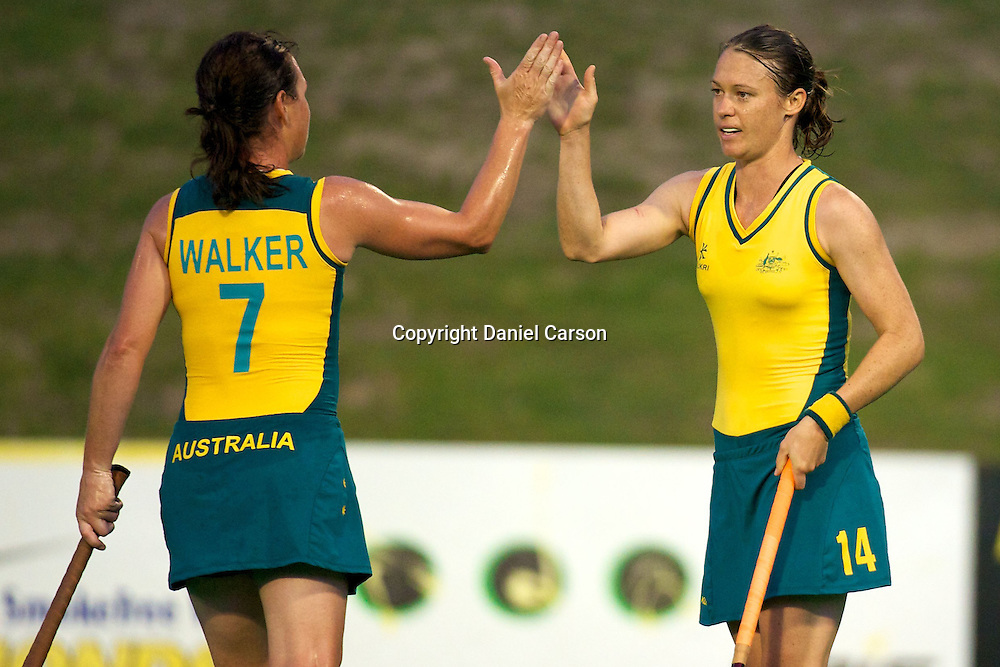 Nicole Arrold and Kim Walker celebrate her goal. Hockeyroos v New Zealand International Hockey match. Curtin Hockey Stadium, Perth. Wednesday 17 February 2010. Photo: Daniel Carson/PHOTOSPORT