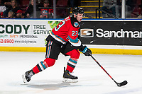 KELOWNA, BC - MARCH 11: Jake Poole #23 of the Kelowna Rockets skates with the puck against the Victoria Royals at Prospera Place on March 11, 2020 in Kelowna, Canada. (Photo by Marissa Baecker/Shoot the Breeze)