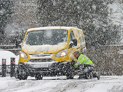 © Licensed to London News Pictures. 27/02/2018. Medway, UK. An AA recovery van struggles in heavy snowfall in Medway, Kent South East England. Amber weather warnings are in place for large parts of the east of the UK as a severe cold front heads in from Russia. Photo credit: Graham Long/LNP