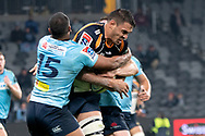 SYDNEY, AUSTRALIA - JUNE 08: Brumbies player Rory Arnold (4) tries to break the tackle of Waratahs player Kurtley Beale (15) at week 17 of Super Rugby between NSW Waratahs and Brumbies on June 08, 2019 at Western Sydney Stadium in NSW, Australia. (Photo by Speed Media/Icon Sportswire)