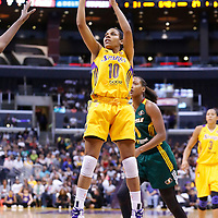 15 August 2014: Los Angeles Sparks guard Lindsey Harding (10) takes a jump shot during the Los Angeles Sparks 77-65 victory over the Seattle Storm, at the Staples Center, Los Angeles, California, USA.
