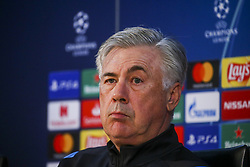 November 4, 2019, Caserta, Campania, Italy: Carlo Ancelotti italian coach ssc napoli and Konstantinos Manolas Greek defender ssc napoli during the press conference the day before the match of the champions league SSC Napoli vs  Red Bull Salisburgo  at the training center SSC Napoli Castelvolturno  (Credit Image: © Antonio Balasco/Pacific Press via ZUMA Wire)