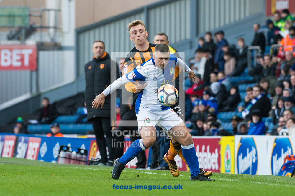 Paul Caddis of Blackburn Rovers holds off Jarrod Bowen of Hull City during the FA Cup match at Ewood Park, Blackburn<br /> Picture by Matt Wilkinson/Focus Images Ltd 07814 960751<br /> 06/01/2018