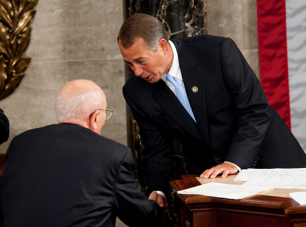 Jan 5, 2011 - Washington, District of Columbia, U.S. -Speaker of the House JOHN BOEHNER (R-OH) is congratulated by Rep. John Dingle (D-MI)  after being sworn in as Speaker of the House of Representatives.(Credit Image: © Pete Marovich/ZUMA Press)