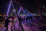 THE WAVE Vertigo on<br /> Riverside Walkway - Lumiere London is a light festival that takes place over four evenings, from Thursday 18 to Sunday 21 January 2018. It showcases the capital's architecture and streets, with more than 50 works created by leading UK and international artists. The free outdoor festival returns to London for the second time following the success of the first edition in January 2016, which attracted an estimated 1.3 million visits. The 2018 edition has an expanded footprint extending north to south, from King's Cross, through Fitzrovia, Mayfair, and London's West End, to Trafalgar Square, Westminster, Victoria, South Bank and Waterloo. Lumiere is produced by Artichoke, the UK's leading producer of outdoor art events.
