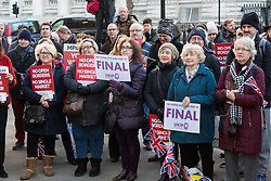 PLACE, January 14 2018. A few dozen protesters from 'The People's Charter' group demonstrate outside Downing Street demanding that the Brexit referendum result is respected following calls for a second referendum. PICTURED: Part of the gathering made up mainly of middle-aged and older protesters. © Paul Davey