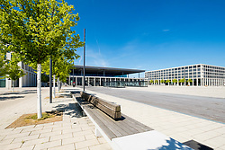 View of deserted Berlin Brandenburg Willy Brandt Airport Terminal uncompleted and 7 years behind schedule in Berlin Germany