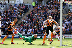 Hull City's Paul McShane scores but is ruled out for offside - Photo mandatory by-line: Matt McNulty/JMP - Mobile: 07966 386802 - 24/05/2015 - SPORT - Football - Hull - KC Stadium - Hull City v Manchester United - Barclays Premier League