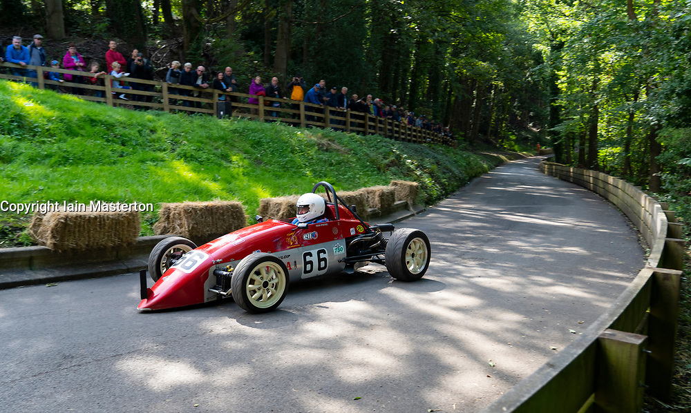 Boness Revival hillclimb motorsport event in Boness, Scotland, UK. The 2019 Bo'ness Revival Classic and Hillclimb, Scotland's first purpose-built motorsport venue, it marked 60 years since double Formula 1 World Champion Jim Clark competed here.  It took place Saturday 31 August and Sunday 1 September 2019. 66. Chris Spencer. Scarab Formula Vee