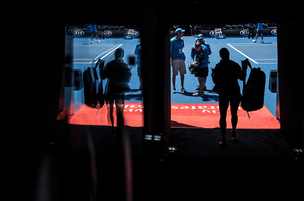 A general view of the walk on tunnel on day ten of the 2018 Australian Open in Melbourne Australia on Wednesday January 24, 2018.<br /> (Ben Solomon/Tennis Australia)