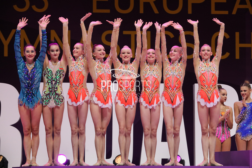 Team Belarus celebrates the Silver Medal, during the 33rd European Rhythmic Gymnastics Championships at Papp Laszlo Budapest Sports Arena, Budapest, Hungary on 20 May 2017.  Photo by Myriam Cawston.