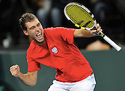 Jerzy Janowicz of Poland competes during the third day the BNP Paribas Davis Cup 2013 between Poland and Slovenia at Hala Stulecia in Wroclaw on February 3, 2013..Photo by: Piotr Hawalej