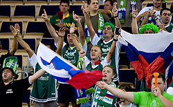 Slovenian fans  during the EuroBasket 2009 Group F match between Slovenia and Poland, on September 14, 2009 in Arena Lodz, Hala Sportowa, Lodz, Poland.  (Photo by Vid Ponikvar / Sportida)