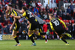 Rotherham United players celebrate after a last minute equaliser - Mandatory by-line: Ryan Crockett/JMP - 11/11/2017 - FOOTBALL - The Keepmoat Stadium - Doncaster, England - Doncaster Rovers v Rotherham United - Sky Bet League One