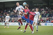 Callum Reynolds (Captain) (Aldershot Town) wins the header and clears the danger from his own penalty box during the Vanarama National League second leg play off match between Tranmere Rovers and Aldershot Town at Prenton Park, Birkenhead, England on 6 May 2017. Photo by Mark P Doherty.