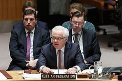Vitaly Churkin(front), permanent representative of Russia to the United Nations, speaks after the Security Council adopted a resolution on the Democratic People's Republic of Korea (DPRK) at the UN headquarters in New York, March 2, 2016. The UN Security Council adopted a resolution on Wednesday to impose sanctions on the Democratic People's Republic of Korea (DPRK) in order to curb the country's nuclear and missile programs. EXPA Pictures © 2016, PhotoCredit: EXPA/ Photoshot/ Li Muzi<br />