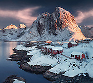 Lofoten, Norway, fjord, sunset, winter, photography, mountains, max rive, fishermans cabin, hamnoy