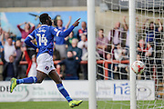 Carlisle United Jabo Ibehre celebrates but the goal is disallowed during the EFL Sky Bet League 2 match between Morecambe and Carlisle United at the Globe Arena, Morecambe, England on 8 October 2016. Photo by Pete Burns.
