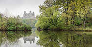 Spring greens at the Lake in Central Park with a view of the Beresford apartment building