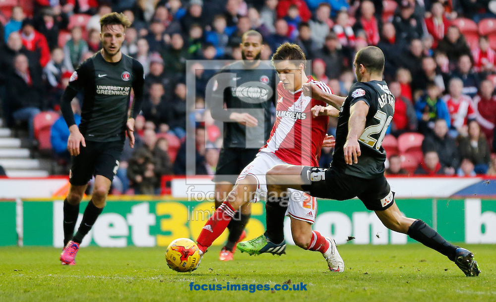Jelle Vossen (red top) of Middlesbrough shooting during the Sky Bet Championship match at the Riverside Stadium, Middlesbrough<br /> Picture by Simon Moore/Focus Images Ltd 07807 671782<br /> 07/02/2015
