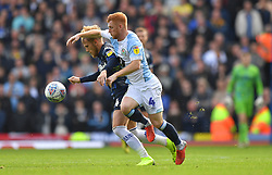 Leeds United's Samu Saiz battles with Blackburn Rovers' Harrison Reed