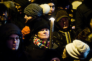 16.02.2015. Copenhagen, Denmark.<br /> Forty thousands of Danes have attended a memorial rally in Copenhagen for the two victims killed in twin shootings on the weekend. The gathering took place near the scene of the first attack. <br /> Photo: &copy; Ricardo Ramirez