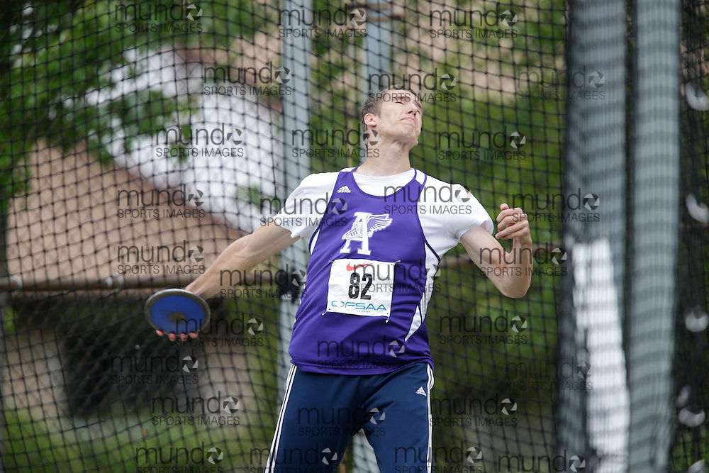 Andrew Vermette of Assumption College CHS-Windsor competes at the 2013 OFSAA Track and Field Championship in Oshawa Ontario, Friday,  June 7, 2013.<br /> Mundo Sport Images/ Geoff Robins