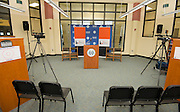 Setup for a remote broadcast of a Broad Foundation research team tour and press conference at Ortiz Middle School, May 29, 2013.
