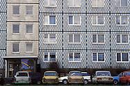 GDR, German Democratic Republic, Eastberlin, in the district Pankow, Trabant cars in front of a panel flat building.....DDR, Deutsche Demokratische Republik, Ostberlin, im Stadtteil Pankow, Trabis vor einem Plattenbau...1990