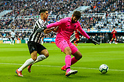 Alisson Becker (#13) of Liverpool shields the ball from Ayoze Perez (#17) of Newcastle United during the Premier League match between Newcastle United and Liverpool at St. James's Park, Newcastle, England on 4 May 2019.