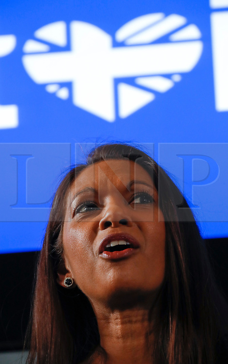 """© Licensed to London News Pictures. 26/04/2017. London, UK. Gina Miller speaking during the Launch of the Best for Britain initiative. Mrs Miller's campaign aims to endorse various candidates in the general election who support it's proposal for a """"meaningful"""" vote by MPs at the end of the UK's EU Brexit negotiations. Photo credit: Peter Macdiarmid/LNP"""