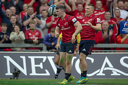 October 20, 2018 - Limerick, Ireland - Sammy Arnold of Munster celebrates scoring with Andrew Conway during the Heineken Champions Cup match between Munster Rugby and Gloucester Rugby at Thomond Park in Limerick, Ireland on October 20, 2018  (Credit Image: © Andrew Surma/NurPhoto via ZUMA Press)