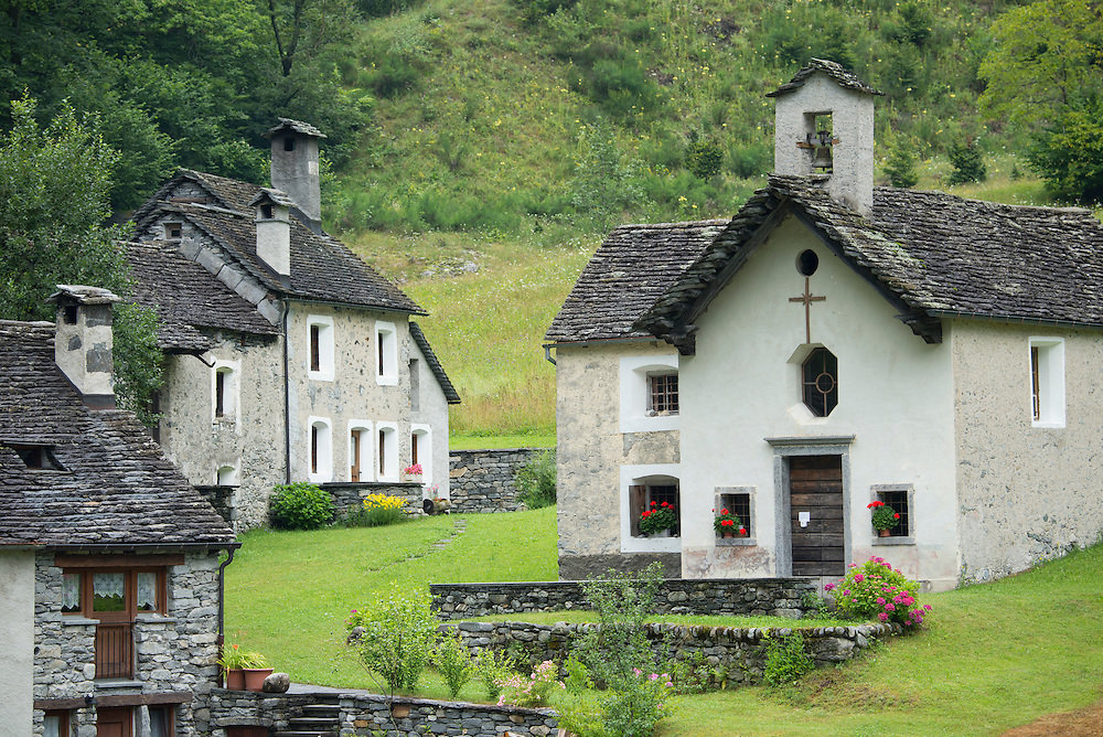 Europe; Switzerland; Ticino; Val Bavona, village,